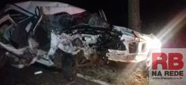 Carro fica destruído após bater em árvore entre Ribeirão Bonito e Guarapiranga